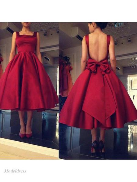 Koyu Kırmızı Kısa Gelinlik Modelleri Backless Spagetti Sapanlar Diz Boyu Bow Saten Draped Basit Parti Elbiseler Örgün Zarif Abiye giyim Özel