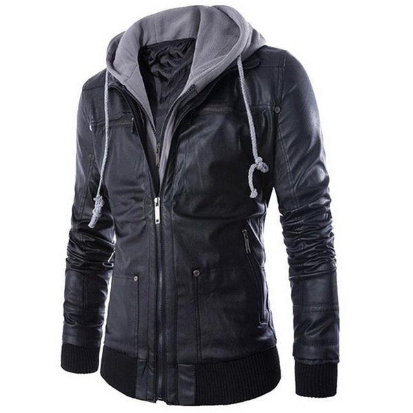 2018 New Leather Jacket Men Coats Brand High Quality PU Outerwear Mens Business Winter Faux Fur Male Jacket Fleece 2XL