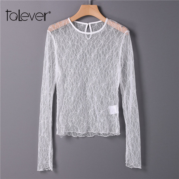 Women Sexy White See Through Bodycon Mesh Tees Tops Women's Casual Long Sleeve Transparent Lace Shirts Female T-shirts Talever
