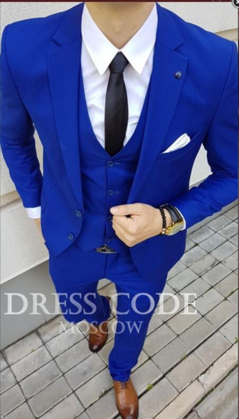 2018 Royal Blue Tailored Suit Men Smoking Slim Fit 3 piezas Custom Groom Prom Men Los trajes de boda Blazer Terno Jacket + Pant + Vest