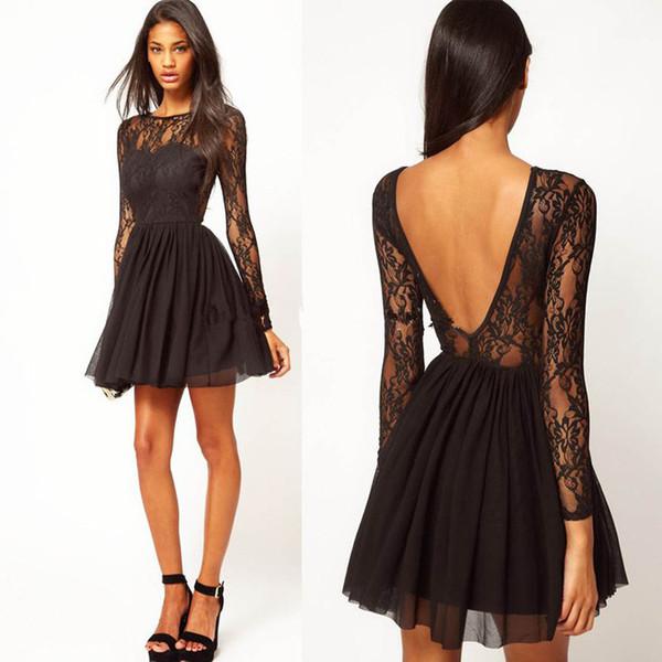 Black Scoop Long Sleeve Prom Dresses 2018 Short Backless Knee Length Homecoming Dresses Chiffon Short Evening Dress
