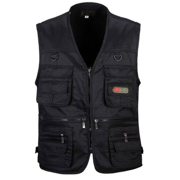 Men Vest Army Green and Black Color Waistcoat Multi-pocket Travel or Work Wear Durable Plus Size High Quality