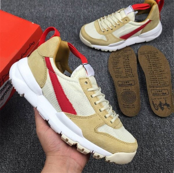 Authentic Tom Sachs Craft Mars Yard 2.0 Space Camp Running Shoes For Men,Best Quality AA2261-100 Natural Sport Red Maple Sneakers Size 7-13
