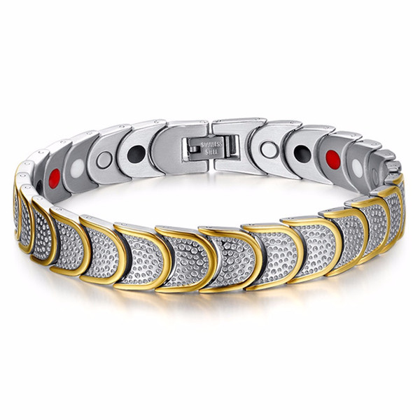 Men Top Quality Watch Band Bracelet Mens Womens Wristband Bangle Link Chain Stainless Steel Silver Gold Tone 12mm*22.5cm