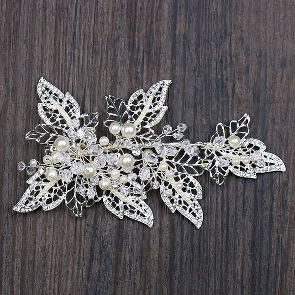 Handmade Silver Barrettes Wedding Hair Accessories Pearl Head Clip Rhinestone Hair Ornament Leaves Crystal Style C18110801