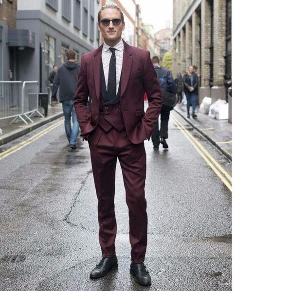 latest Coat Pant Designs Burgundy Double Breasted Wedding Suit for Men Tuxedo Custom Blazer Slim Fit 3 Piece Vestidos Ternos