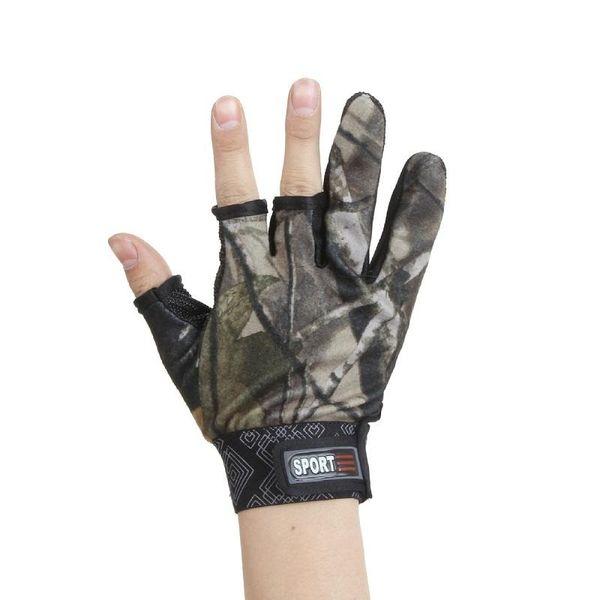 Men Fly Fishing Gloves Outdoor Hunting Gloves Three Cut Finger Fishing Glove Neoprene Anti Slip Anti-Cut 4 Colors Wholesale 30Lots