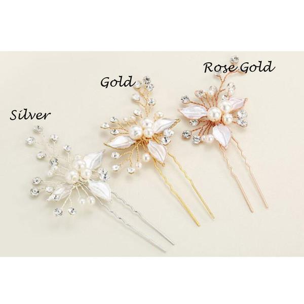 top popular New Arrival Wedding Hair Pins for Bridal Crystals Pearls Bridal Hair Pins Headpieces 2021