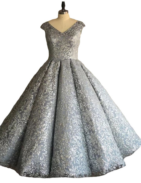 Charming V-neck 2019 Ball Gown Floor Length Women Evening Dresses Shining Sequined Silver Backless Celebrity Dresses Beaded Plus Size Prom