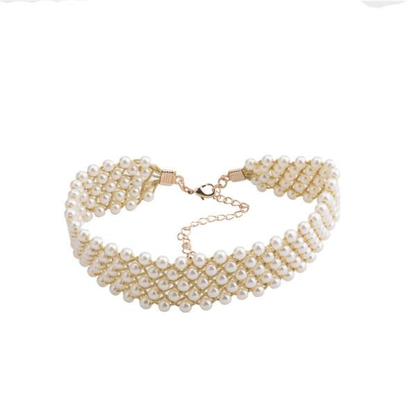 Intera venditaAliexpress Romantico Feminino Charms Per gioielli Choker Collane Simulato Pearl Ornament Pendant Collana donna Kolye Um Colar
