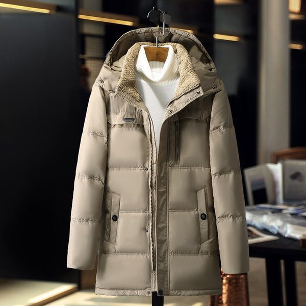 Autumn Winter Lamb Stand Collar Mens Down Jacket Parka Men Warm Casual Coat Zipper Thickening Hooded Hat Detachable Clothes Male