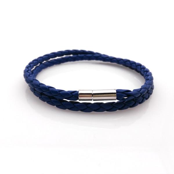 2016 braccialetto di cuoio degli uomini dei braccialetti di cuoio dei 2 cuori, braccialetto punk blu di fascino delle donne degli uomini, trasporto libero! 8 colori scelgono