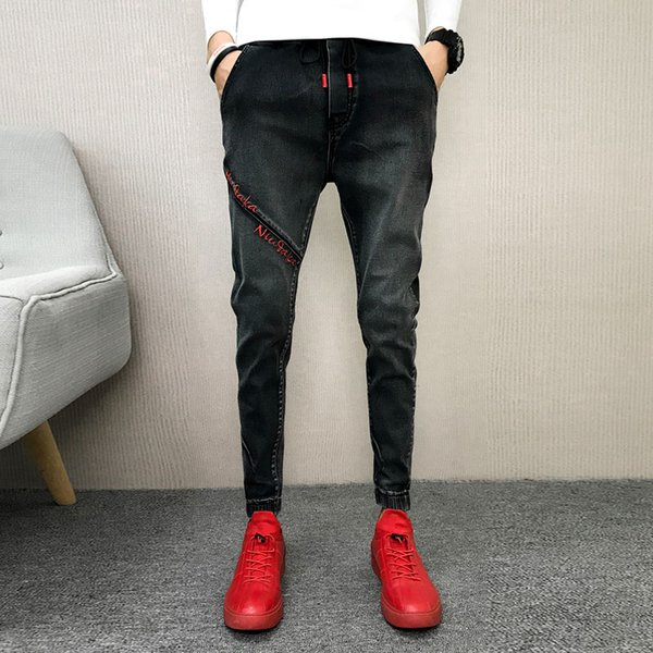 2018 Autumn Beam Pants Male Social Guy Casual Slim Feet Jeans