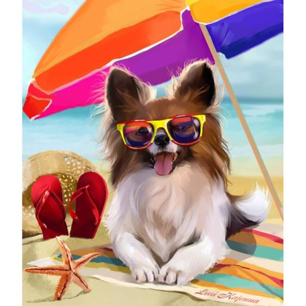 5D Diy Алмаз живопись, вышивки крестом инкрустированные Алмаз вышивка украшения дома горный хрусталь живопись подарок, пляж зонтик собака