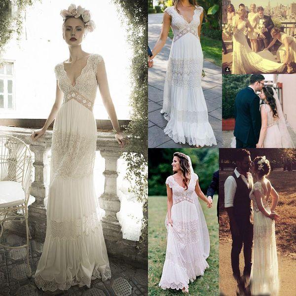 Vintage lihi hod Wedding Dresses Sheer Deep V Neck Backless Bohemian Lace Applique Wedding Bridal Gown Chiffon Court Train Long Bridal Dress