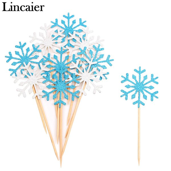 Lincaier 10Pcs Snowflake Cupcake Toppers 2018 Merry Christmas Decorations for Home Supplies Ornaments 2019 New Year Santa Claus Y18102609