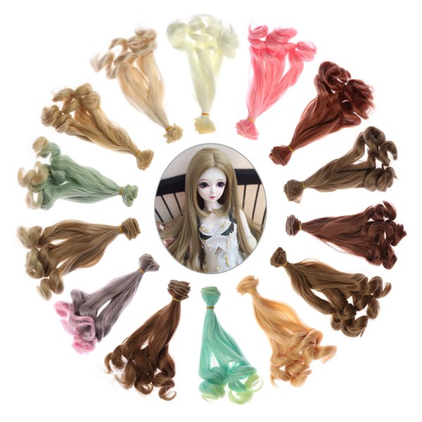 2018 New 20CM 1/6 1/4 1/3 BJD SD Curly Wigs Mini Tresses Toy Toupee Doll Periwig Fashion DIY Hair Kids Gifts