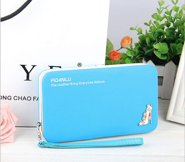 sky blue nice bag wome wallet Brand Design High Quality PU Leather Wallet Female Hasp Fashion Long Women Wallets purse for iphone 7