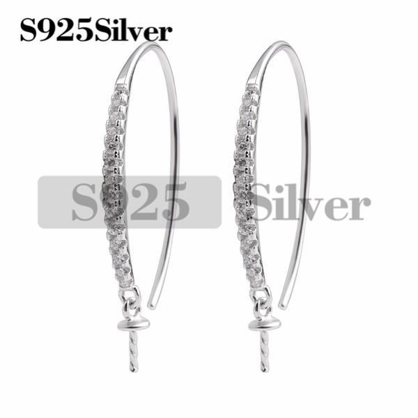 Earwire Findings 925 Sterling Silver Hook Pearl Drop Earrings Semi Mounting Cubic Zirconia Jewellery 5 Pairs