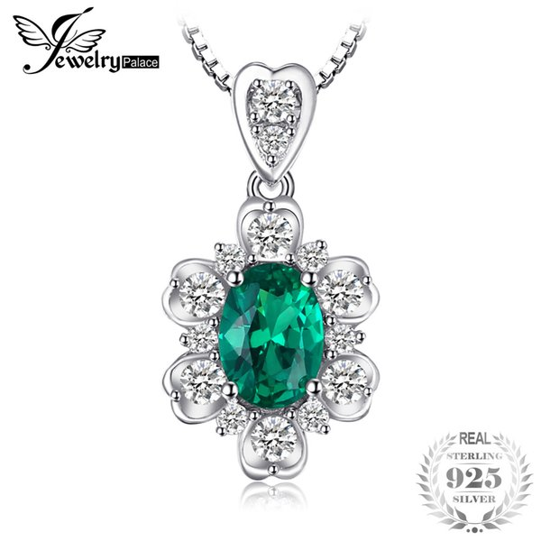 JewelryPalace Elegant 1.2ct Oval Created Emerald Pendant For Women 925 Sterling Silver Charm Fine Jewelry Without Chain 2018