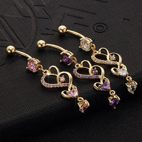 Fashion Double Love Hearts Cubic Zirconia Belly Button Ring Dangle Navel Body Jewelry Piercings Gifts M563 @M23