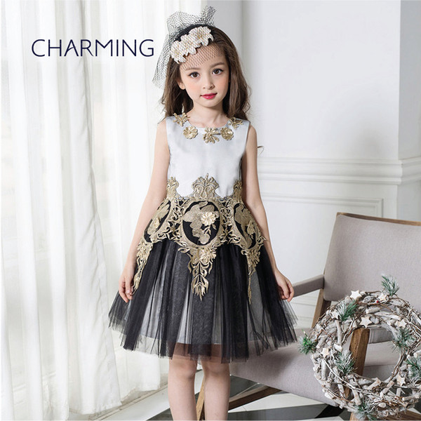 Brand new fashion kids clothes Designer children clothing Quality printed round neck sleeveless dress Best wholesale suppliers from china