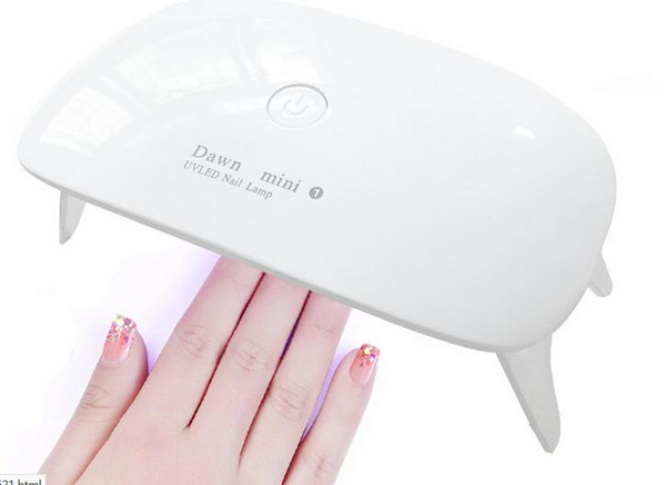 6 W USB Portátil SUN Mini Secador UV Lámpara de Uñas para UV Gel Polaco Curado 6 Unids LED Lámpara Secadora Máquina de Manicura Nail Art Secadora Herramienta