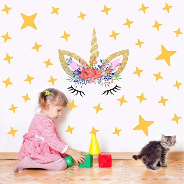 8 Estilos Unicornio Etiqueta de La Pared de Vinilo Arte Decoración Del Hogar Para Niñas Habitación Calcomanía Nursery Star Heart Diseño de Dibujos Animados de Papel Tapiz Extraíble