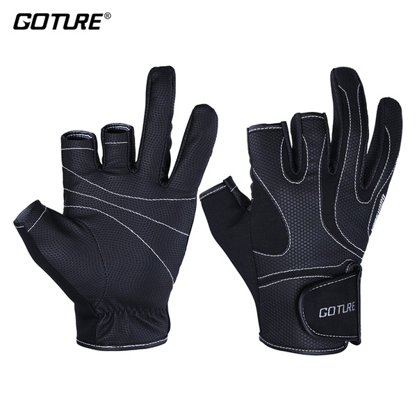 heap Fishing Gloves Goture VANGUARD Summer Outdoor Sports Gloves Men/Women 3-Cut Fingers Neoprene&PU Anti-slip Breathable Glove for Fishi...