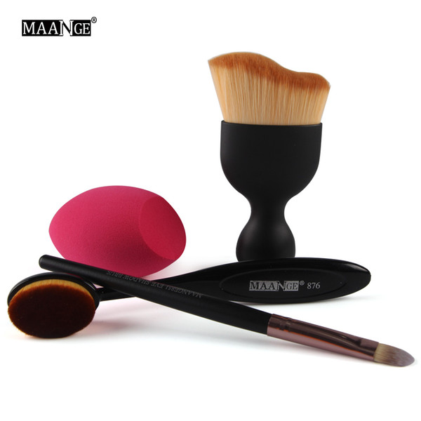 4 cosmetic brush sets, toothbrush foundation brush, oblique cut powder puff, beauty tools, factory direct sales