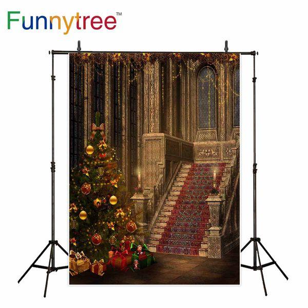 fondo al por mayor para el palacio de estudio fotográfico Árbol de Navidad fondo de decoración de escaleras vintage photocall photobooth