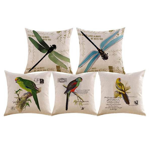 Flax pillowcase American flower and bird cushion set factory direct sale spot sufficient pillow cover cushion cover