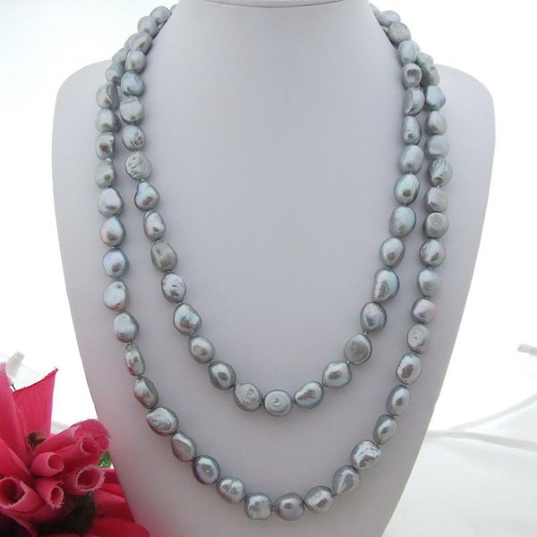 Hand knotted 9-11mm gray baroque freshwater cultured pearl necklace long 135 cm fashion jewelry