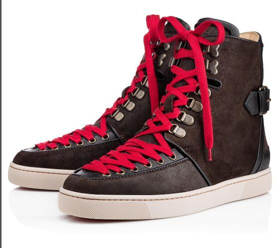 Top Designer High Quality Suede/Leather Red Bottom Men Boots Alfibully Sneakers Leather Boots Breathable With Belt