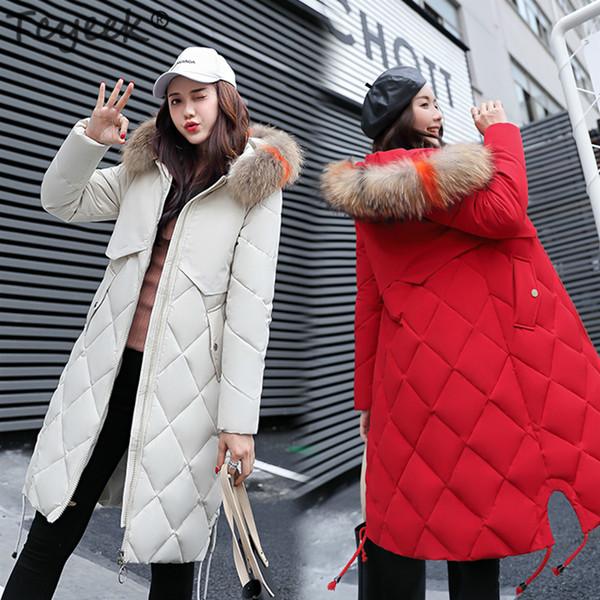 Großhandel Tcyeek Winterjacke Frauen Dick Down Baumwolle Parkas Damen Langer Mantel Korean Slim Top Weibliche Farbe Fell Kapuze Warme Kleidung LWL992