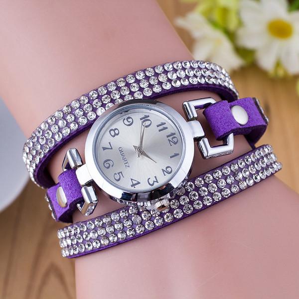 Mode Bracelet Montre Strass En Cuir Bracelet Rond Bracelet En Cuir Bracelet Montre Femme Femme Dame Rétro Horloge Quartz