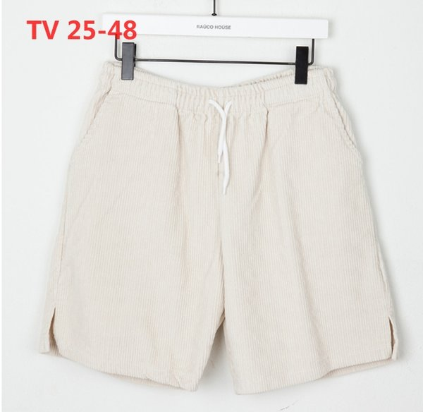 Men's wear 18 summer new, vertical bar, corduroy texture, wide tightness, casual shorts, multi color couples.