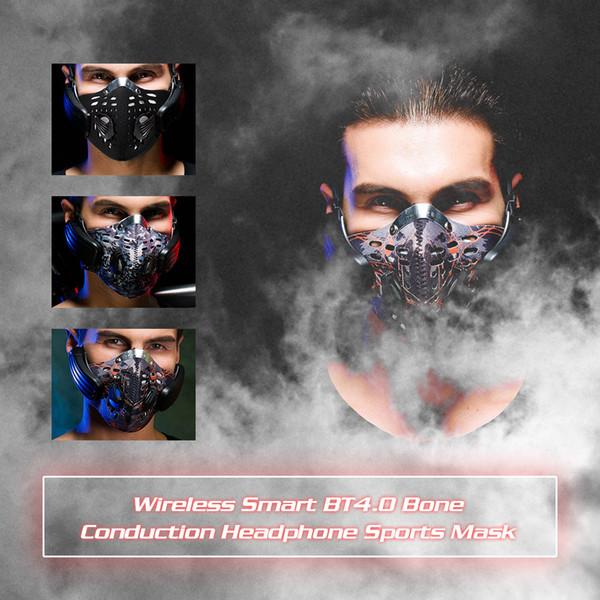 Máscaras inalámbricas recargables inteligentes BT4.0 para auriculares Haze Resistente al polvo Música Auriculares de conducción ósea Máscara deportiva contra la contaminación