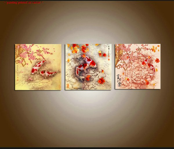 Framed/Unframed Large Contemporary Abstract Art Feng Shui Koi Fish Giclee Print Oil Painting Canvas 3 pieces Set Wall dining room Home Decor