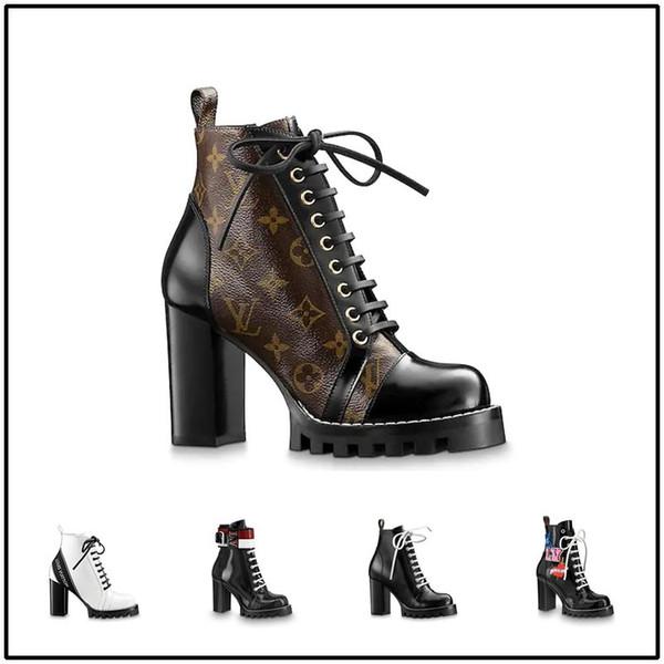 bottes à talons chunky de la mode des femmes bottes en cuir véritable plate-forme marque de luxe conception classique dames Martin bottes qualité 35-41