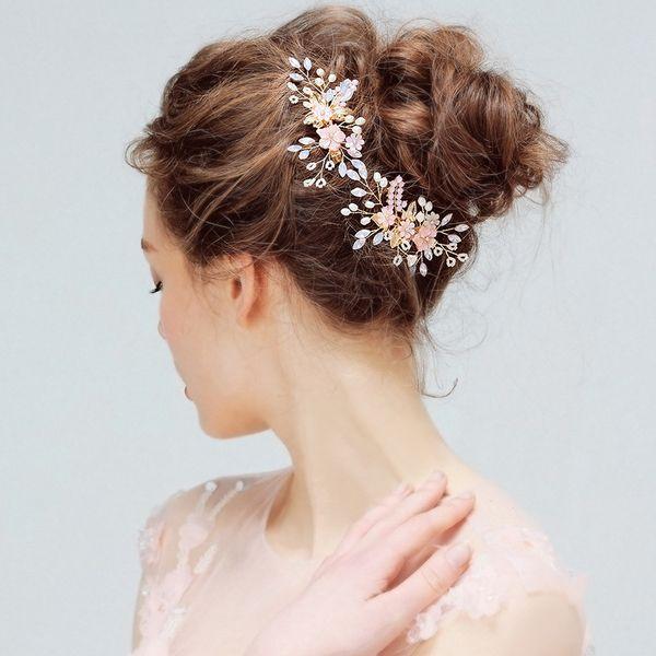 Pink Shell Flower Birdal Hair Clip Accessories Crystal Pearls Wedding Jewelry Hair Vine Women Headpiece Handmade