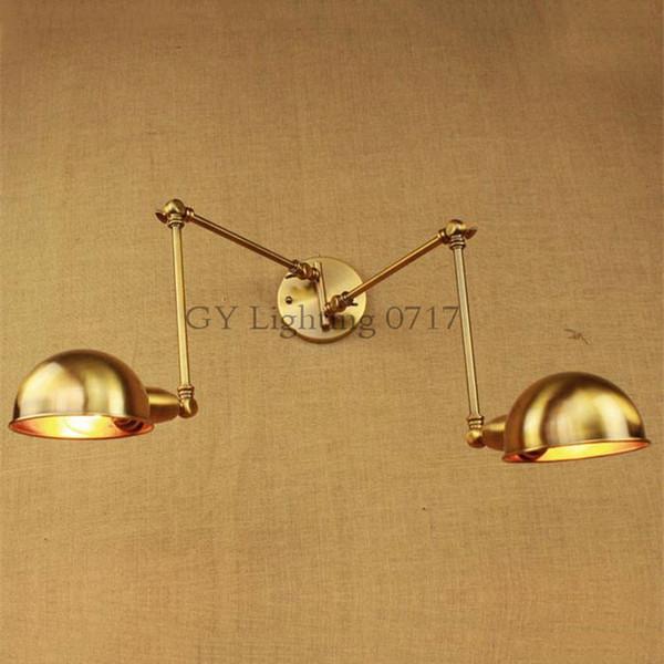 120v 230v Art Deco 2017 new bronze Retro Modern rural warm light iron arm double aisle living room wall lamp lights sconces