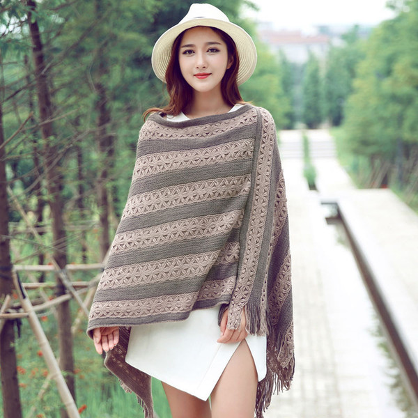 2018 New Style Hot Winter Fashion Poncho And Capesmujier Women Warm Two Color Acrylic Rnitted Sweater Coat Shawls Hot Sale Cape
