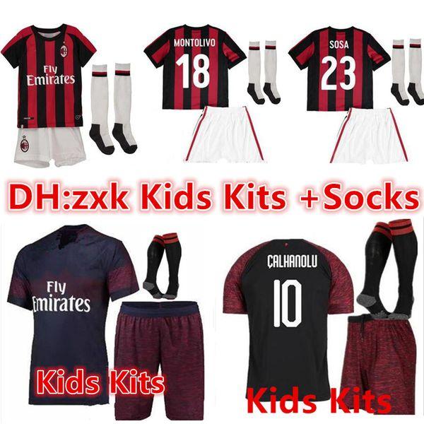 e09990810 kids kits+Socks AC Milan Jersey 2018 2019 BACCA ONAVENTURA MONTOLIVO Football  1819 Children LOCATELLI