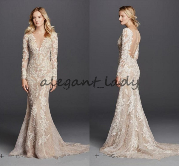 Sexy Mermaid Champagne Wedding Dresses Long Sleeve V Neck Full Lace Detail and Button Back Modest Bridal Gowns