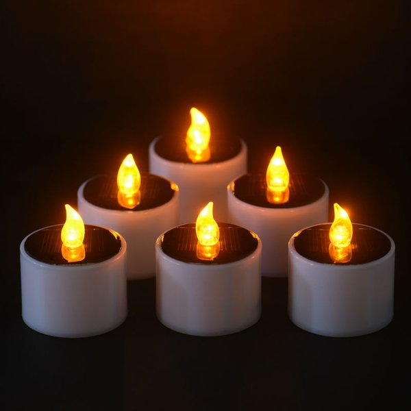 Led Nightlight Solar Energy Candle6 Pieces /Lot New Type Yellow Flicker Solar Power Led Light Candles Flameless Electronic