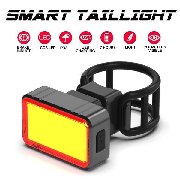 WorthWhile Smart Fahrrad Rücklicht LED COB Bremse Sensing Rücklicht Radfahren Taschenlampe für Fahrrad Zubehör USB Wiederaufladbare C18110701
