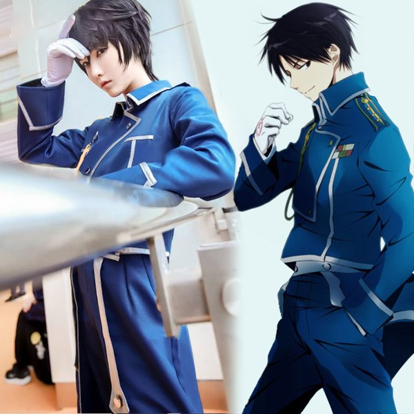 Anime FullMetal Alchemist Roy Mustang Cosplay Costume Men Clothing Halloween Carnival Outfit Custom Made Top Jacket Pants Gloves
