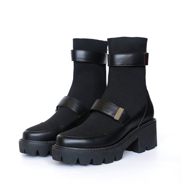 Black Color Women Boots Round Toe Women Shoes Back Zipper Short Booties Med Heel Leather Ankle Boots Sock Boots Brand Chc Shoes