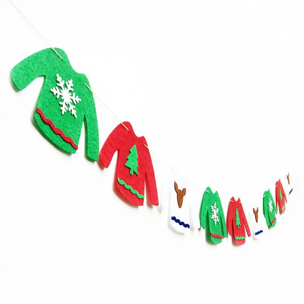ZLJQ Christmas Home Decorations Christmas Banner Non-woven Fabrics Hanging Bunting Garland Banner String Party Flag 75D